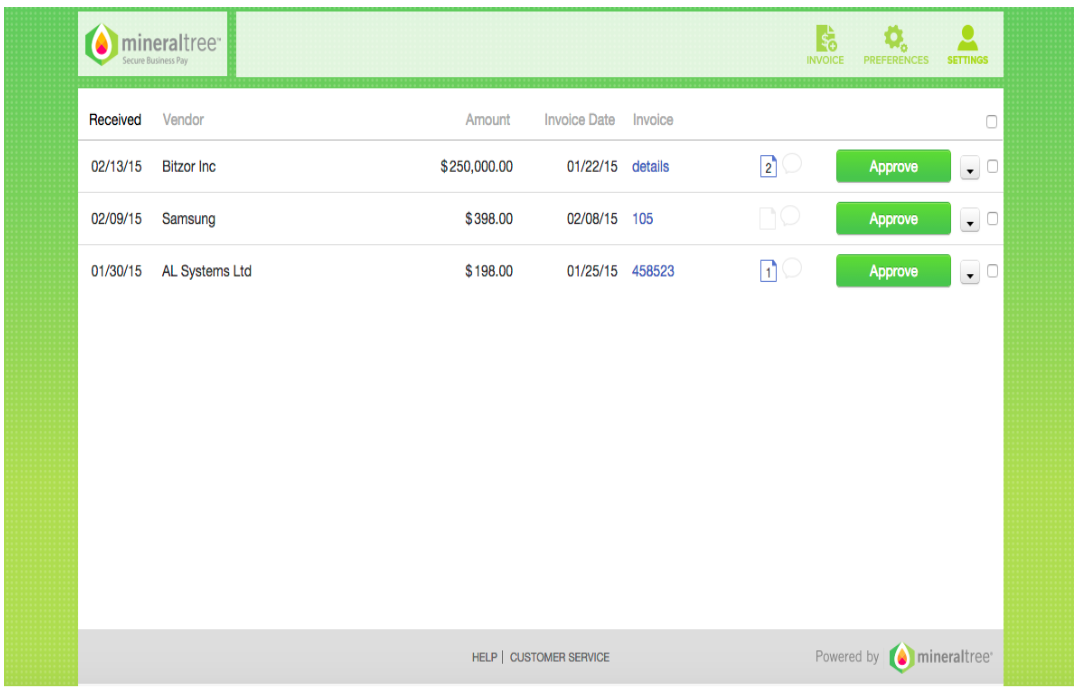 MineralTree Demo - Log in & Approve Multiple Invoices at a Time