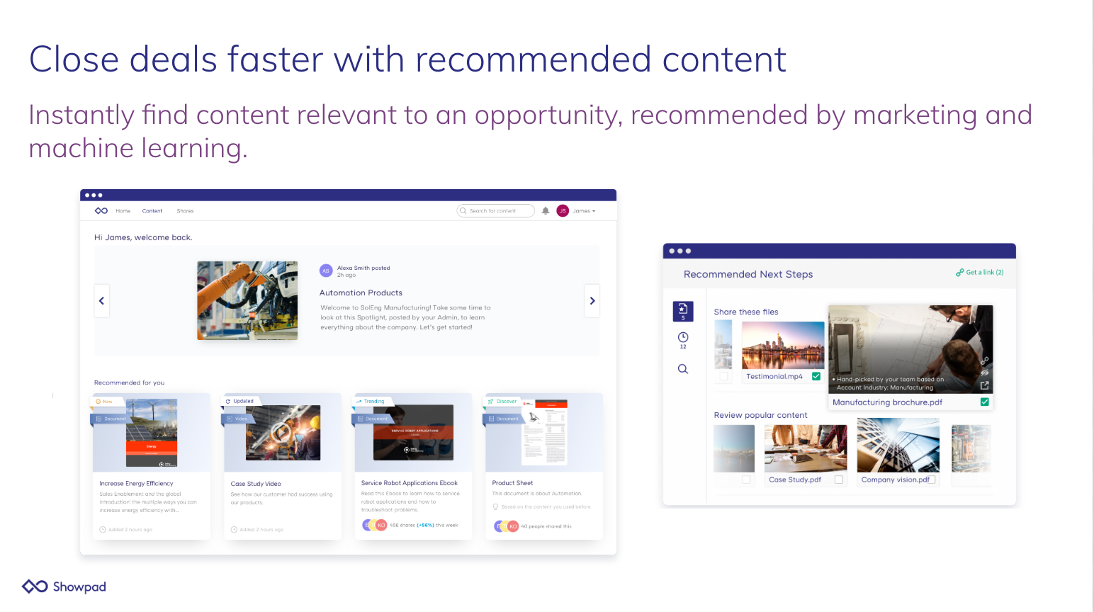 Showpad Content Demo - Close deals faster with recommended content