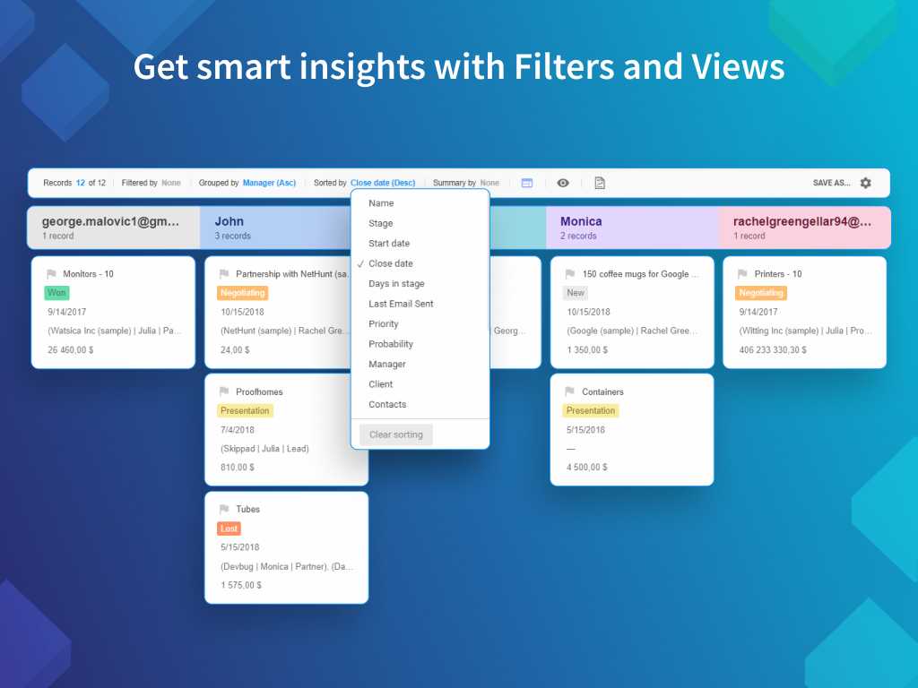 NetHunt CRM Demo - Get smart insights with data filters and views