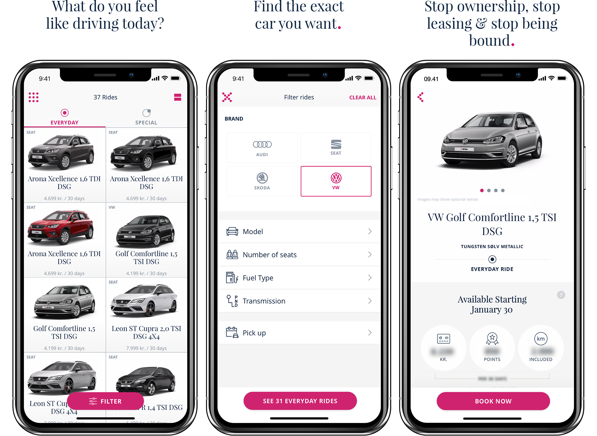Mutual Mobile Demo - DRIBE Car Subscription App