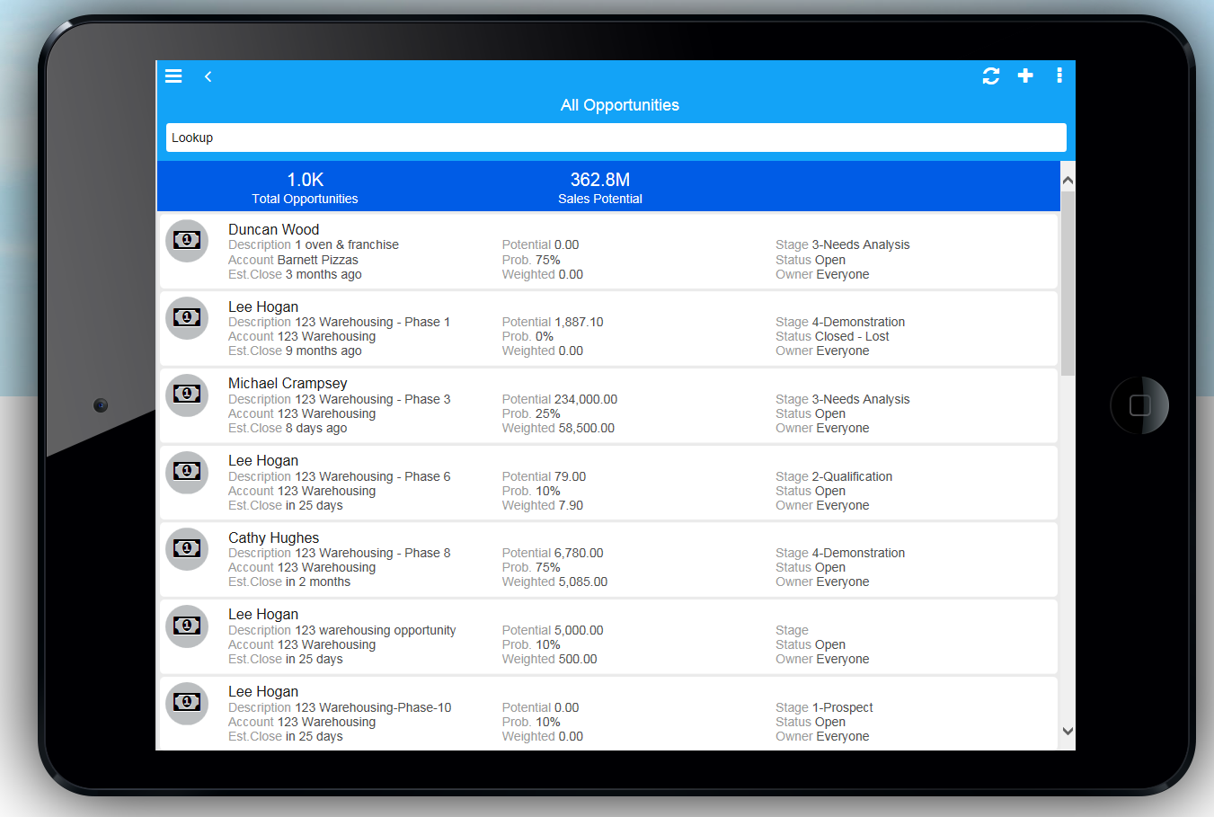 Infor CRM Demo - Infor CRM Mobile (Opportunities)