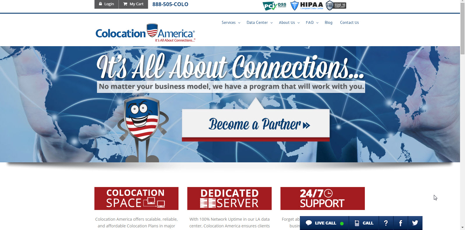 Colocation America Demo - Home Page