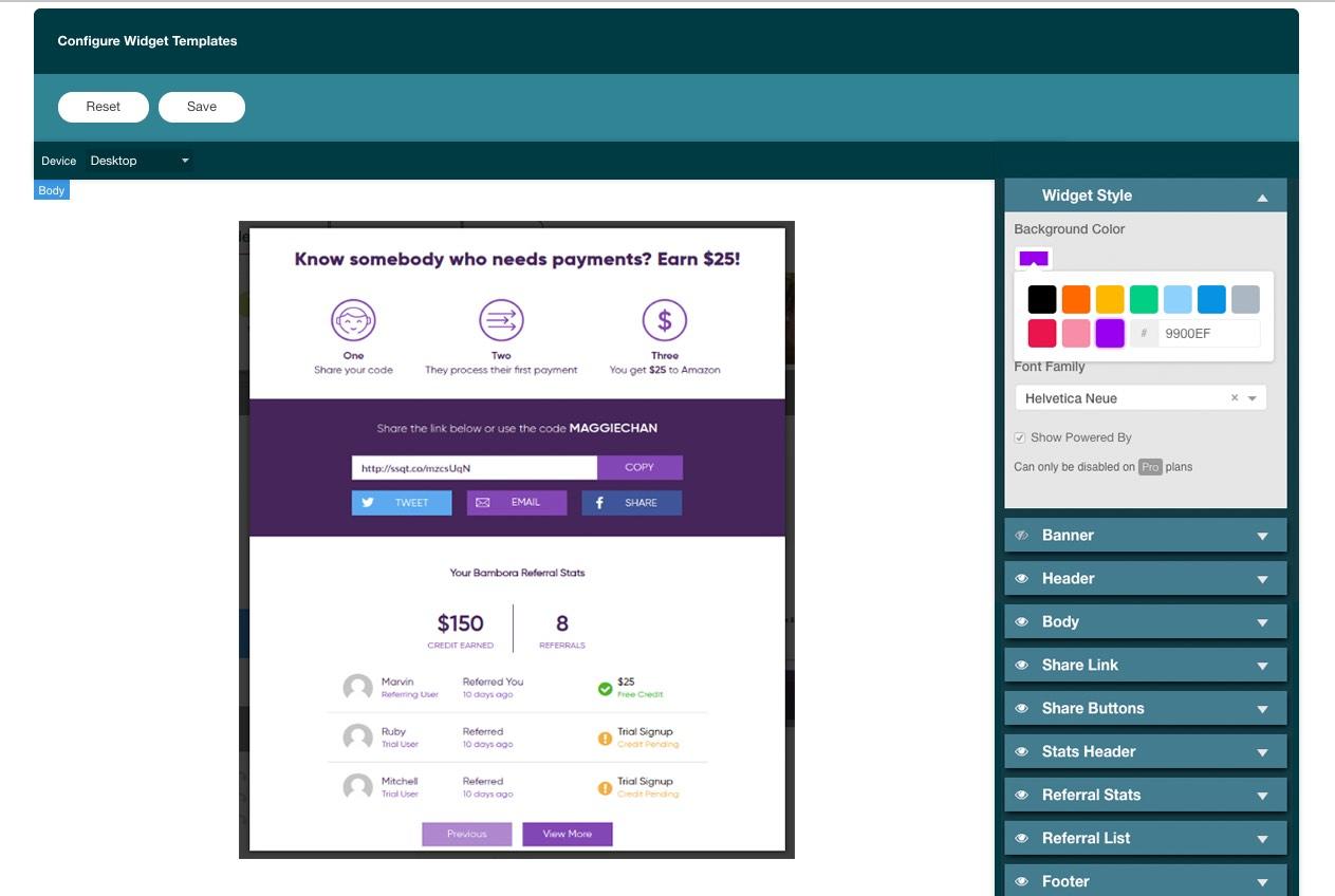 Referral SaaSquatch Demo - Flexible Widget Editor