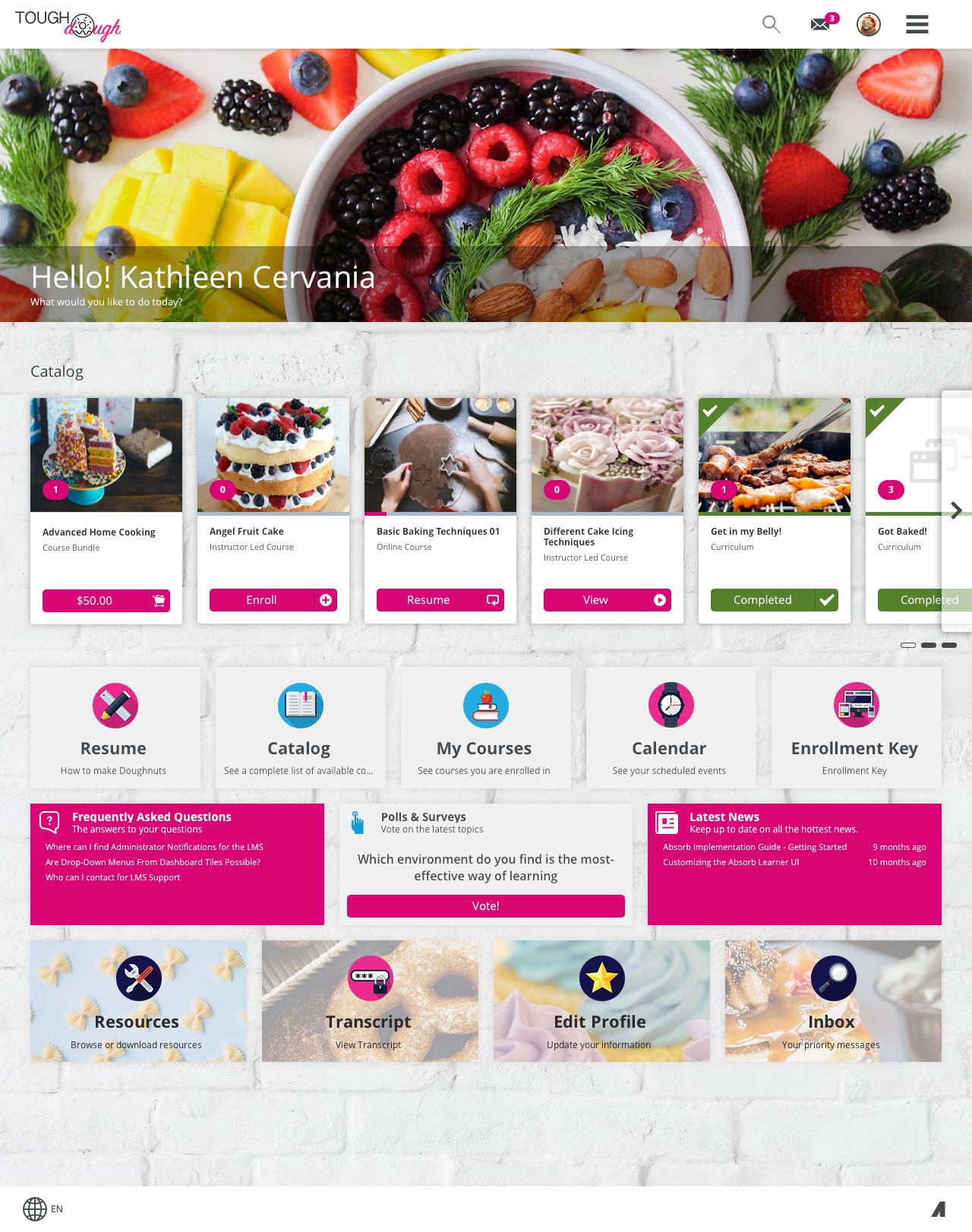 Absorb LMS Demo - Custom branded learner interface