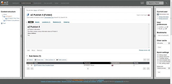 eZ Platform Enterprise Edition Demo - eZ Publish Platform Dashboard