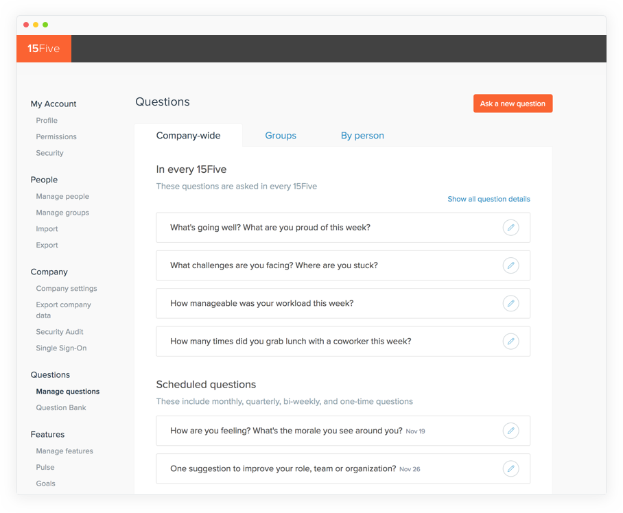 15Five Continuous Performance Management Demo - Questions Bank