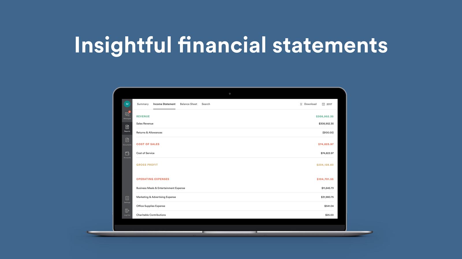 Bench Demo - Insightful financial statements