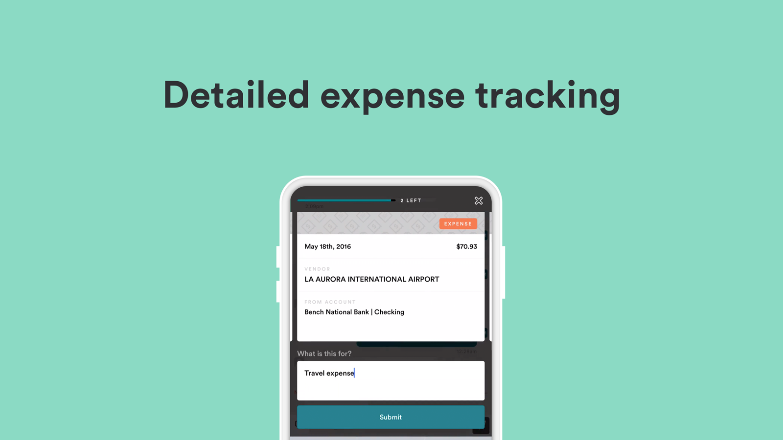 Bench Demo - Detailed expense tracking