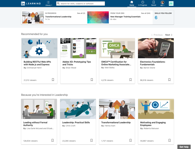 LinkedIn Learning Demo - LinkedIn Learning Homepage