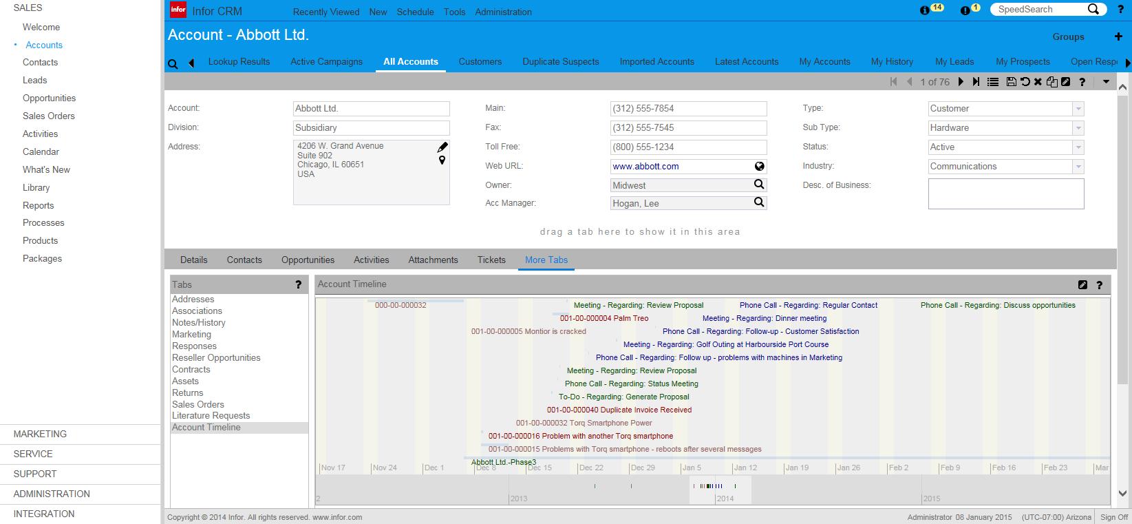 Infor CRM Demo - Infor CRM (Account Timeline)