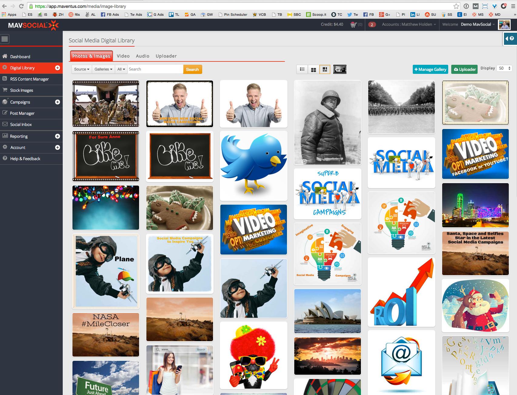 MavSocial Demo - Visual content library