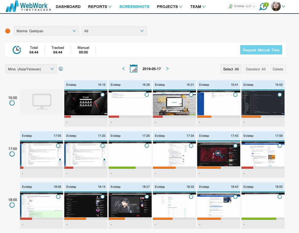 WebWork Time Tracker Demo - Screenshot Monitoring