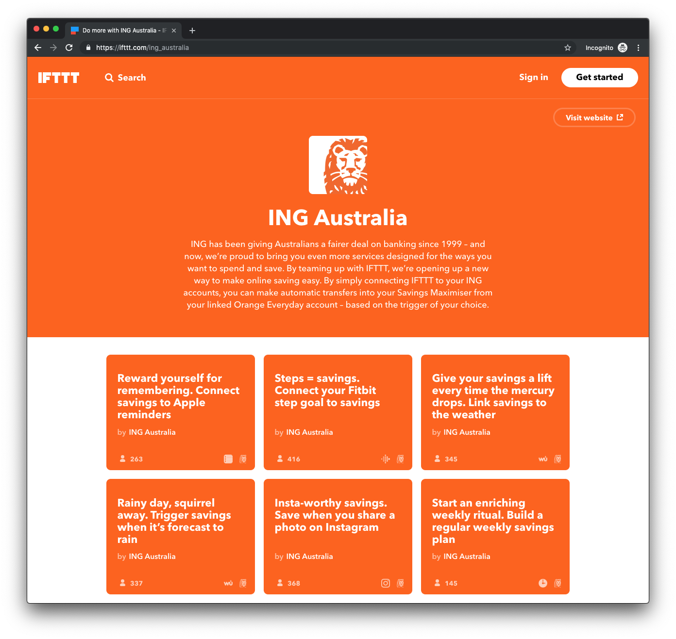 IFTTT Demo - ING Australia on IFTTT