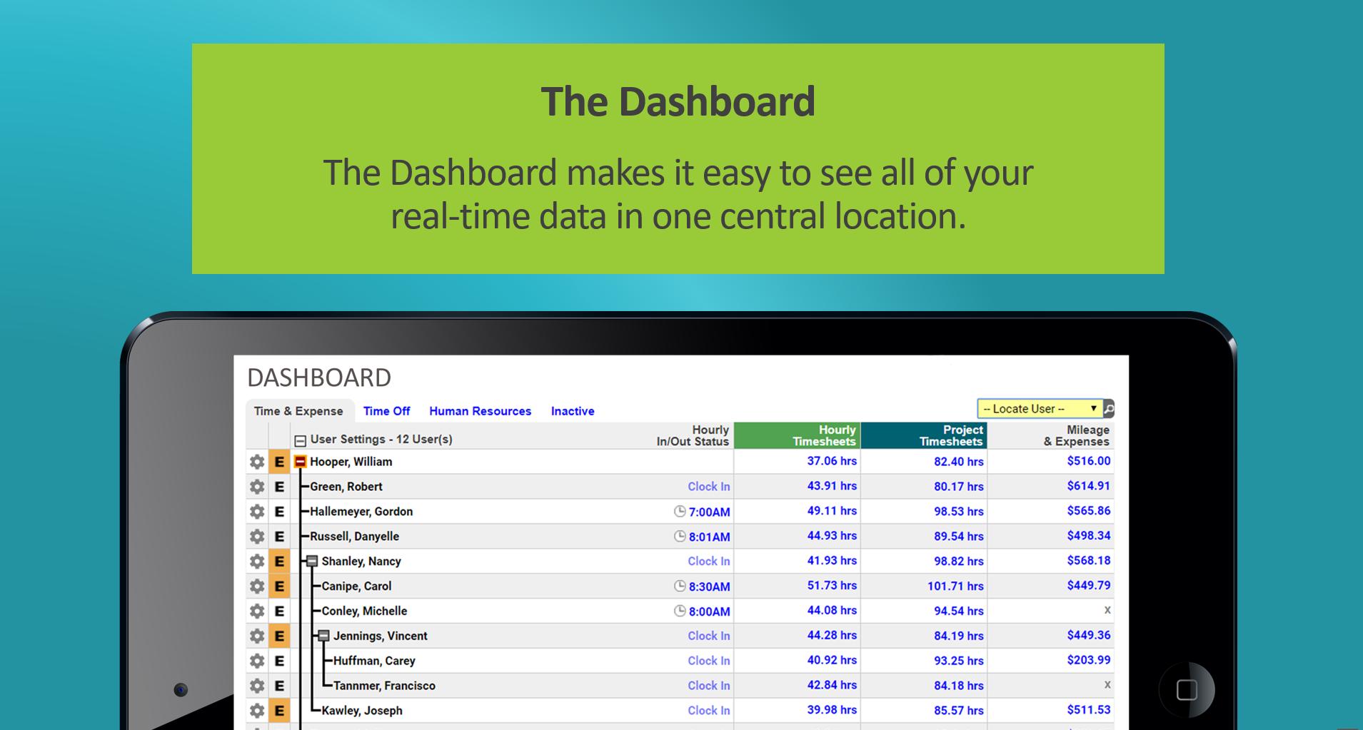 Timesheets.com Demo - The Dashboard