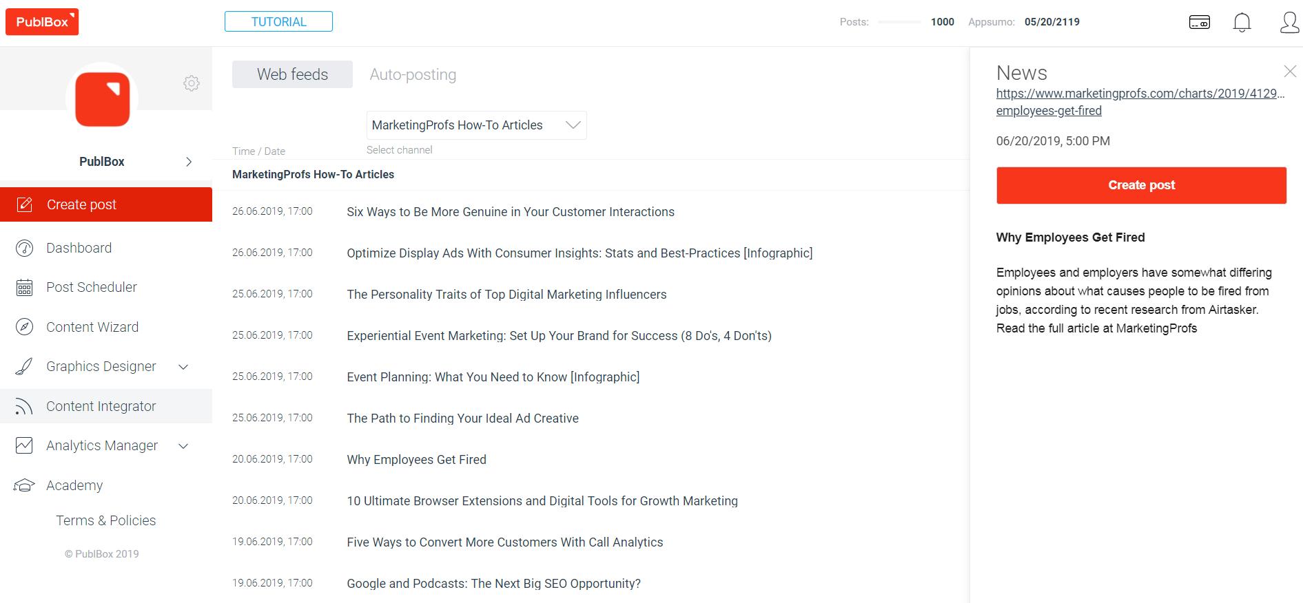 PublBox Demo - Social media content Integrator