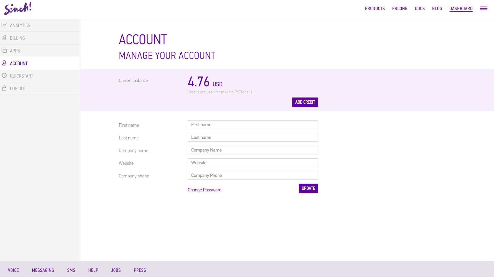 Sinch Demo - Your Account