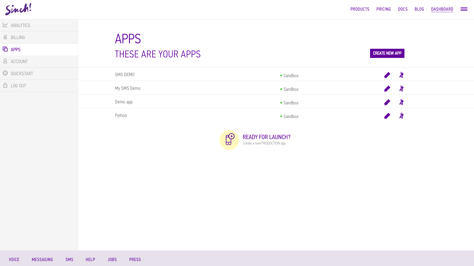 Sinch Demo - Easy to use app builder