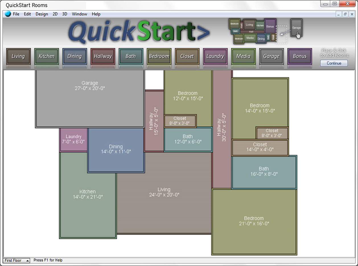 TurboFloorPlan Demo - Quickstart screen
