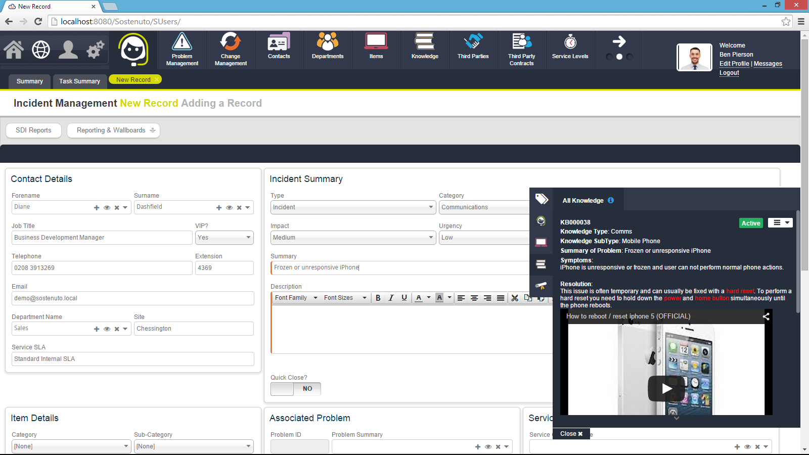 Sunrise ITSM Demo - Sunrise ITSM - Dynamic Searching