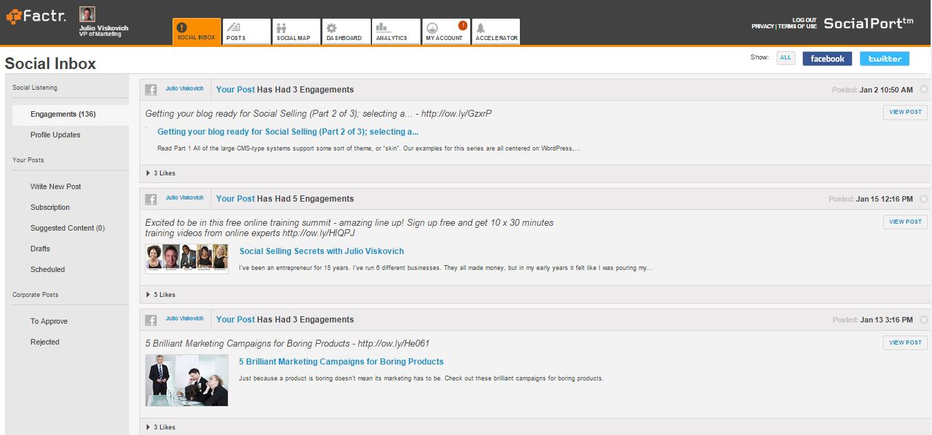 SocialPort™ Demo - rFactr Social Inbox