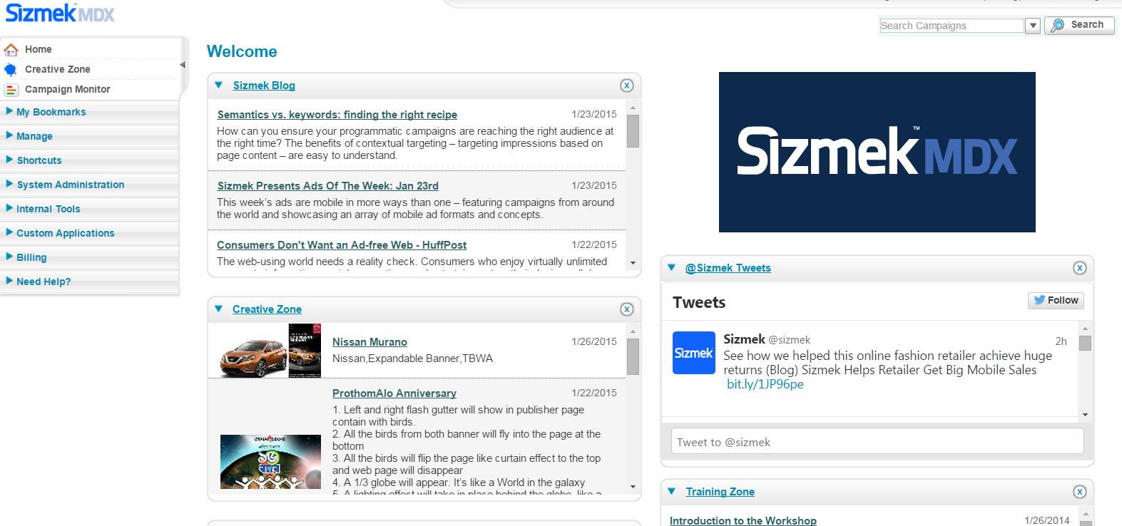 Sizmek Demo - Sizmek MDX Platform Homepage