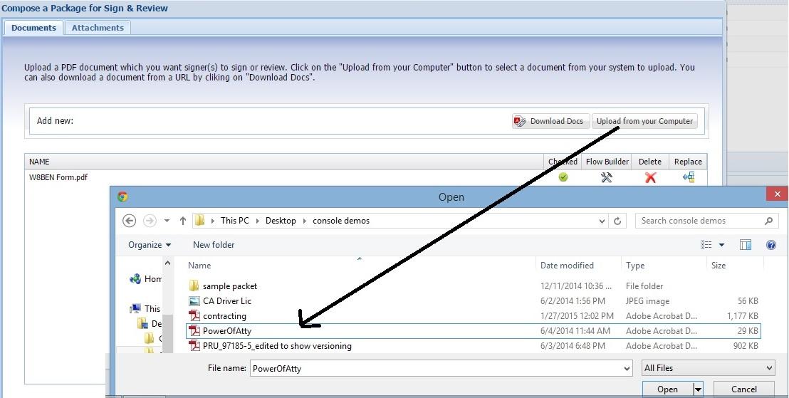 iSign Demo - iSign® Console™ - Document Uploads