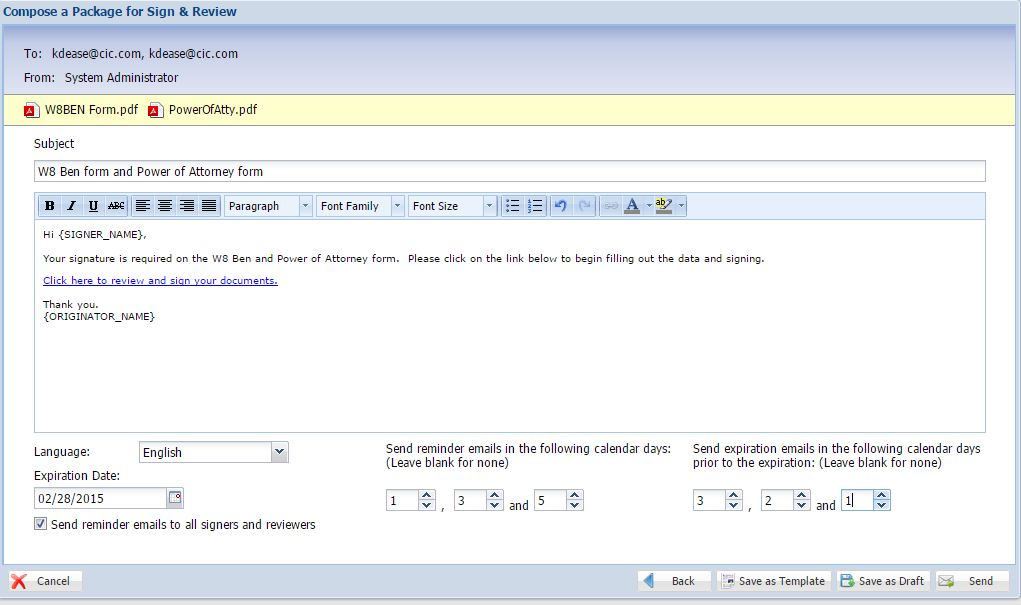 iSign Demo - iSign® Console™ - Email Notification