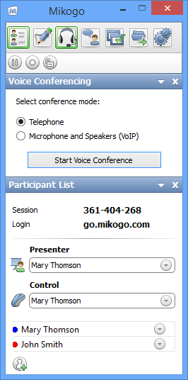 Mikogo Demo - Start a Mikogo voice conference