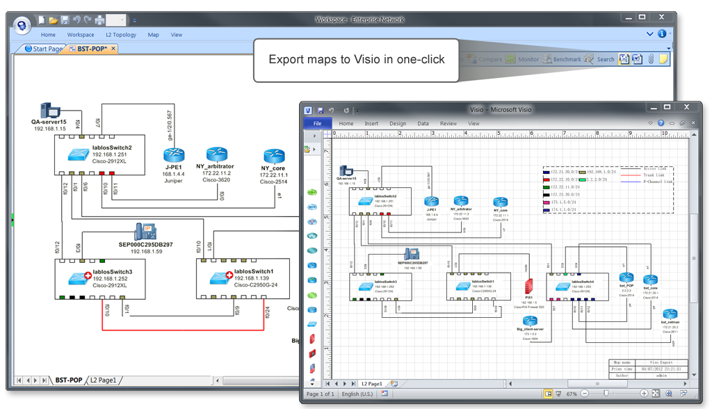NetBrain Enterprise Suite Demo - Export Diagrams to Visio in One-Click.
