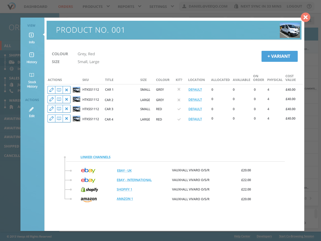 Veeqo Demo - Inventory management