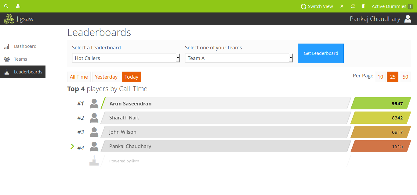 Playlyfe's Gamified Sales Wizard Demo - Leaderboards on Metrics & Actions