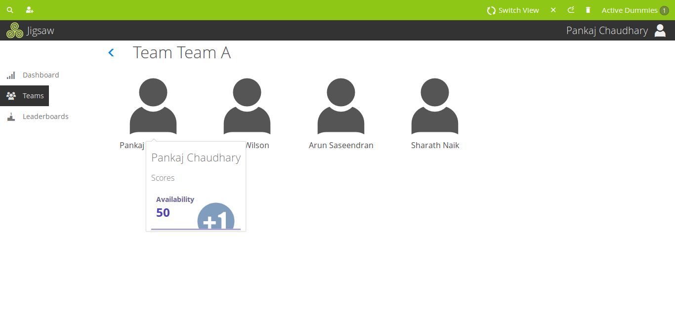 Playlyfe's Gamified Sales Wizard Demo - Team View