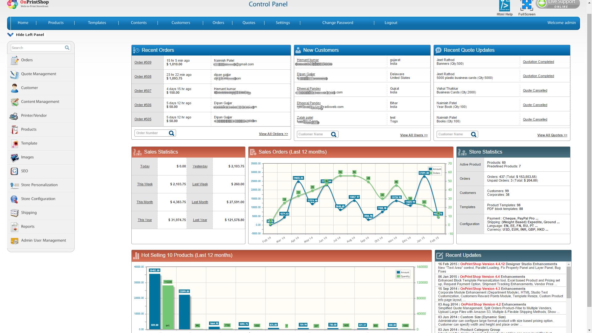 OnPrintShop Web2Print Storefront Solution Demo - OnPrintShop - Store Management Panel