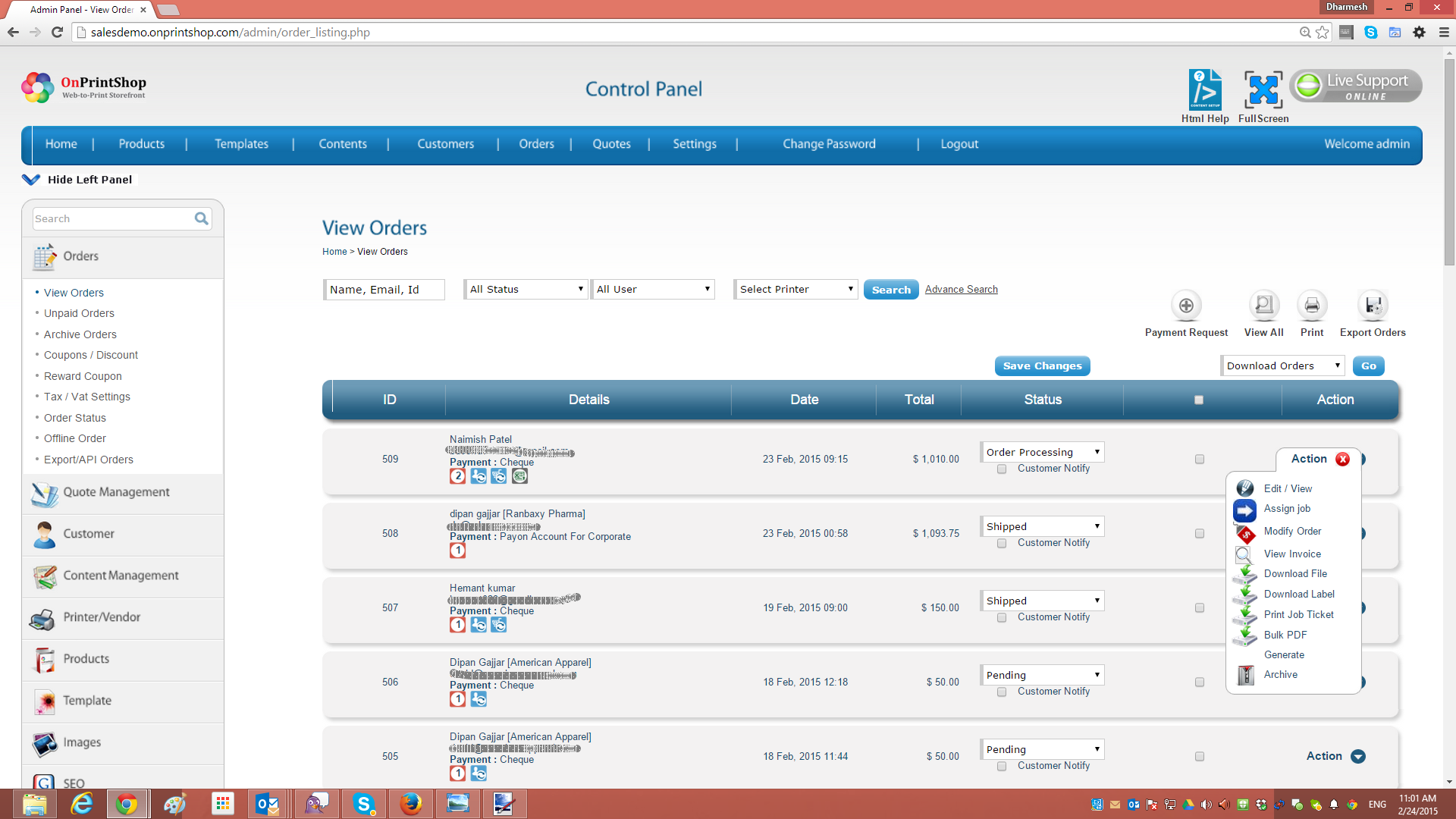 OnPrintShop Web2Print Storefront Solution Demo - Order Management for your Print Store