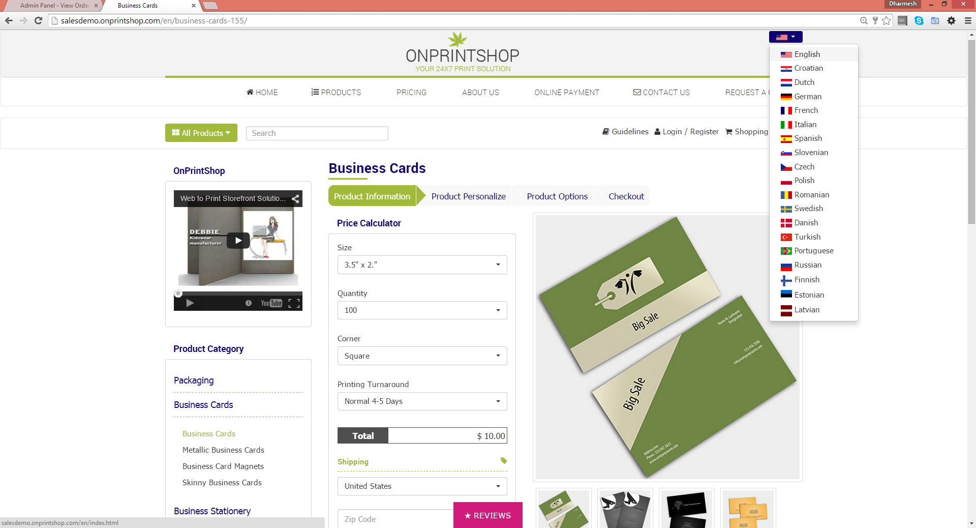 OnPrintShop Web2Print Storefront Solution Demo - Price Calculator, Content Managed Fully Personalised Storefront