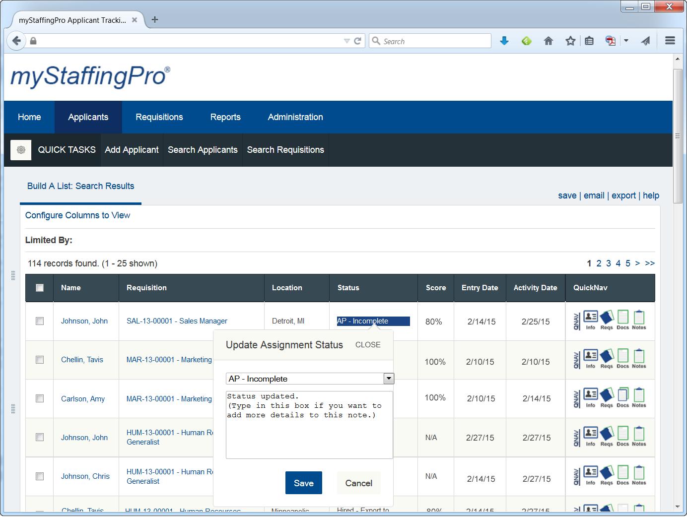 myStaffingPro Demo - myStaffingPro's Applicant Search