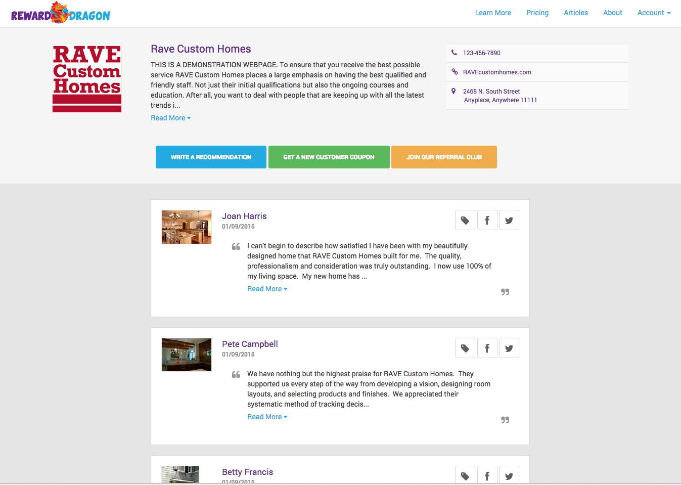 Reward Dragon Demo - Social Media Endorsements Lead to Gallery Page