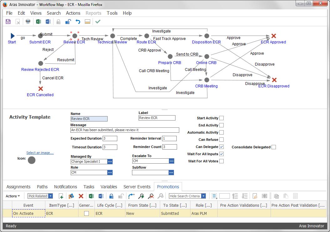 Aras PLM Demo - ECR Workflow