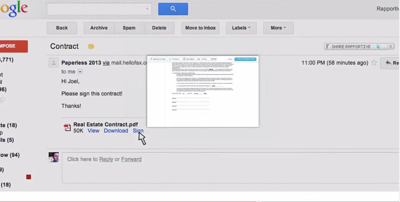 HelloSign Demo - Sign Docs Directly Within Gmail