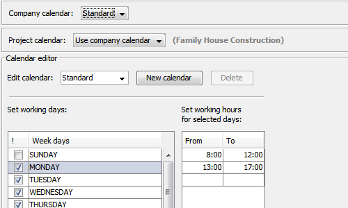 RationalPlan Demo - Working calendars