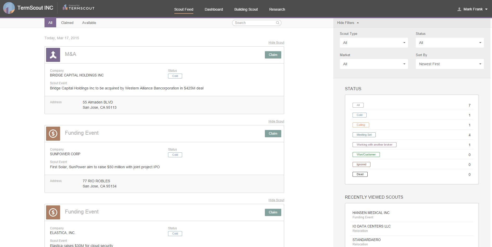 SaleScout Demo - ScoutFeed User Primary View