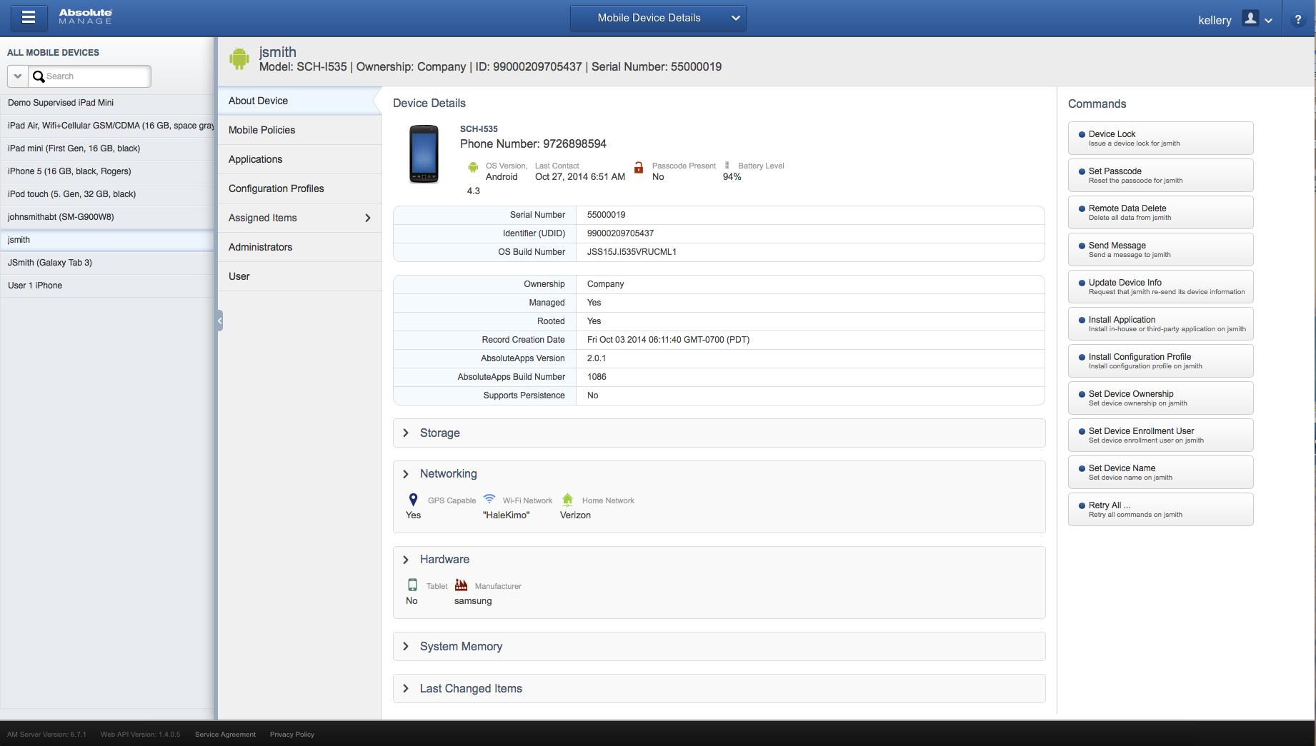 HEAT LANrev Client Management Demo - Absolute Manage Web UI