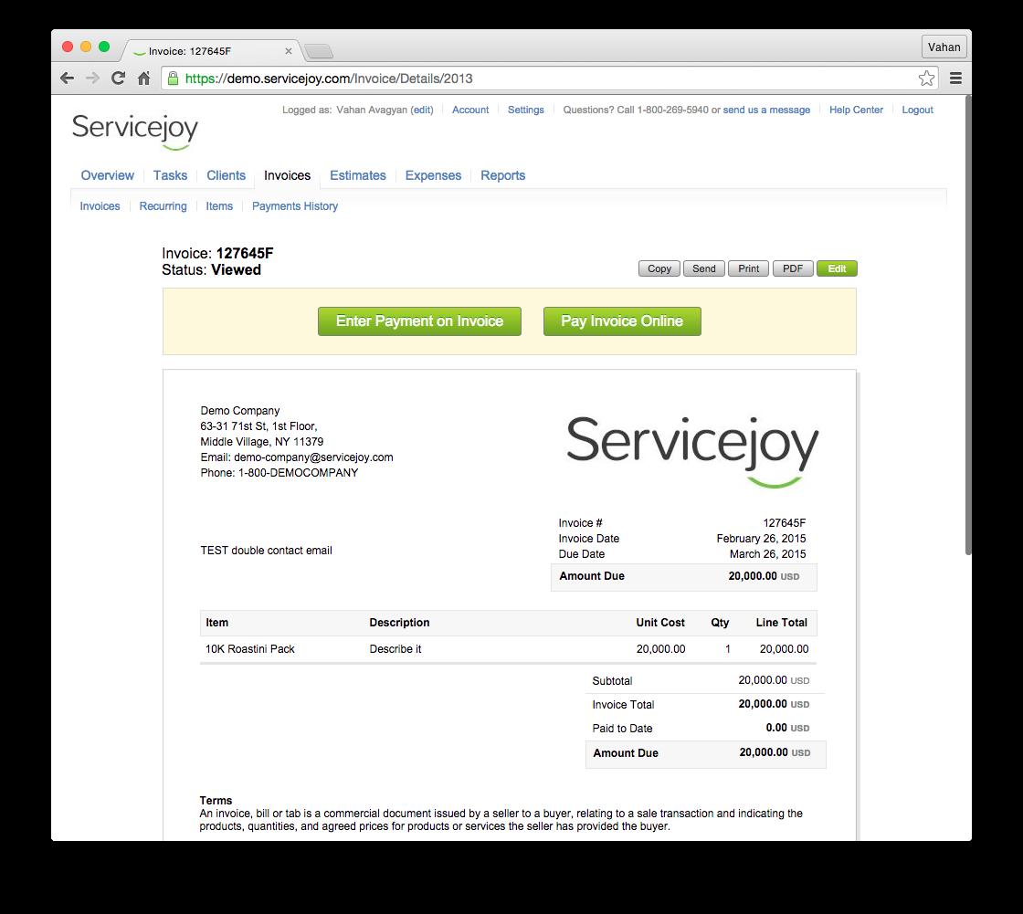 Servicejoy Demo - Invoice