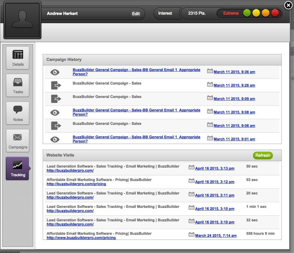 BuzzBuilder Demo - Prospect Tracking