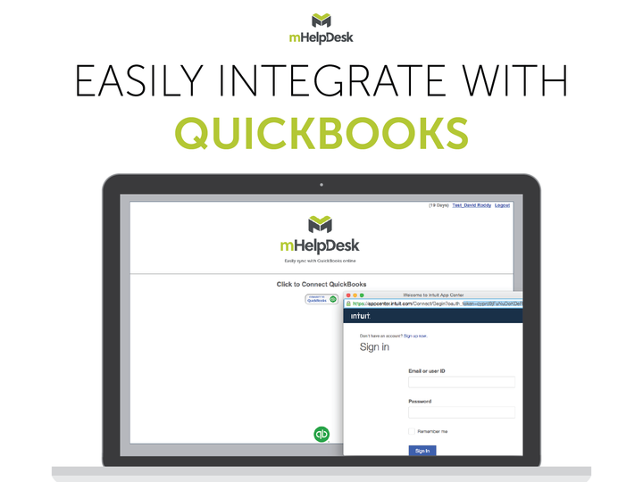 mHelpDesk Demo - Sync with QuickBooks