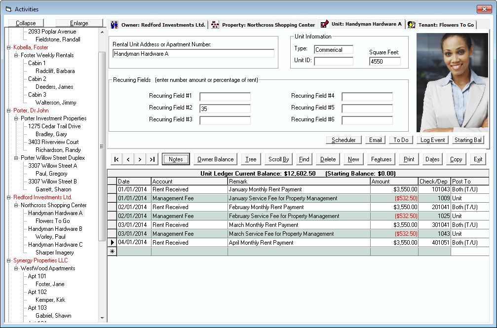 Tenant File Property Management Demo - Main Activities Screen