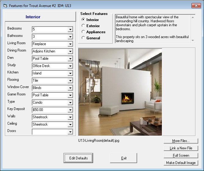 Tenant File Property Management Demo - Amenities and Features