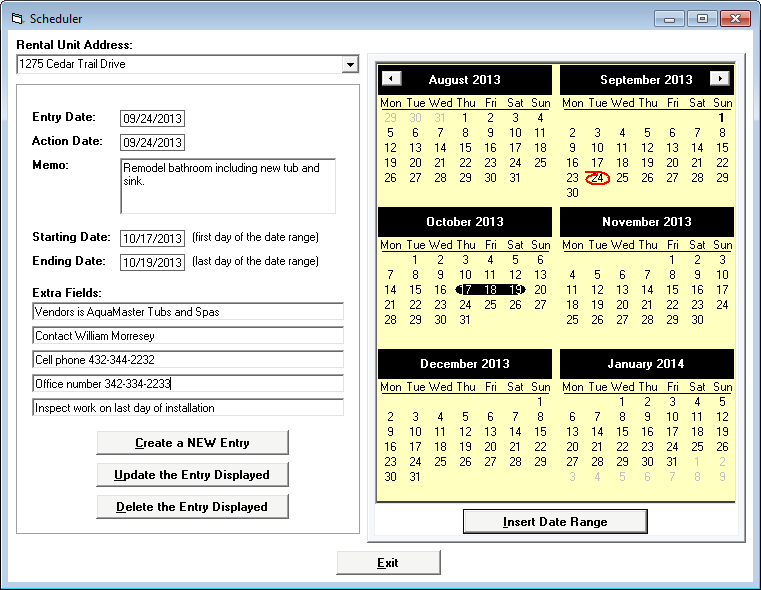 Tenant File Property Management Demo - Scheduler