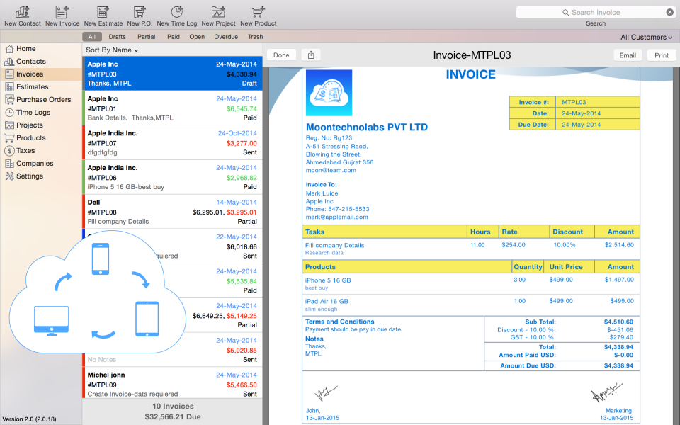 Moon Invoice - Easy Invoicing Demo - Mac OSX Invoice Apps - Moon invoice
