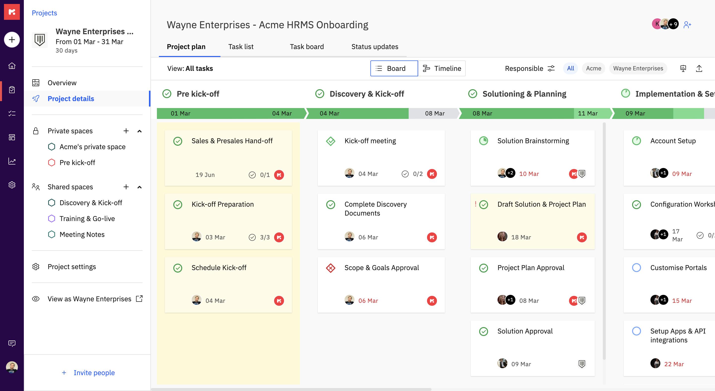 Screenshot of RocketLane platform